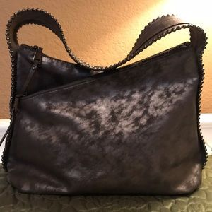 INC faux leather gray bag w metal accents